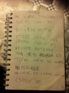 Letra manuscrita de la canción Carme